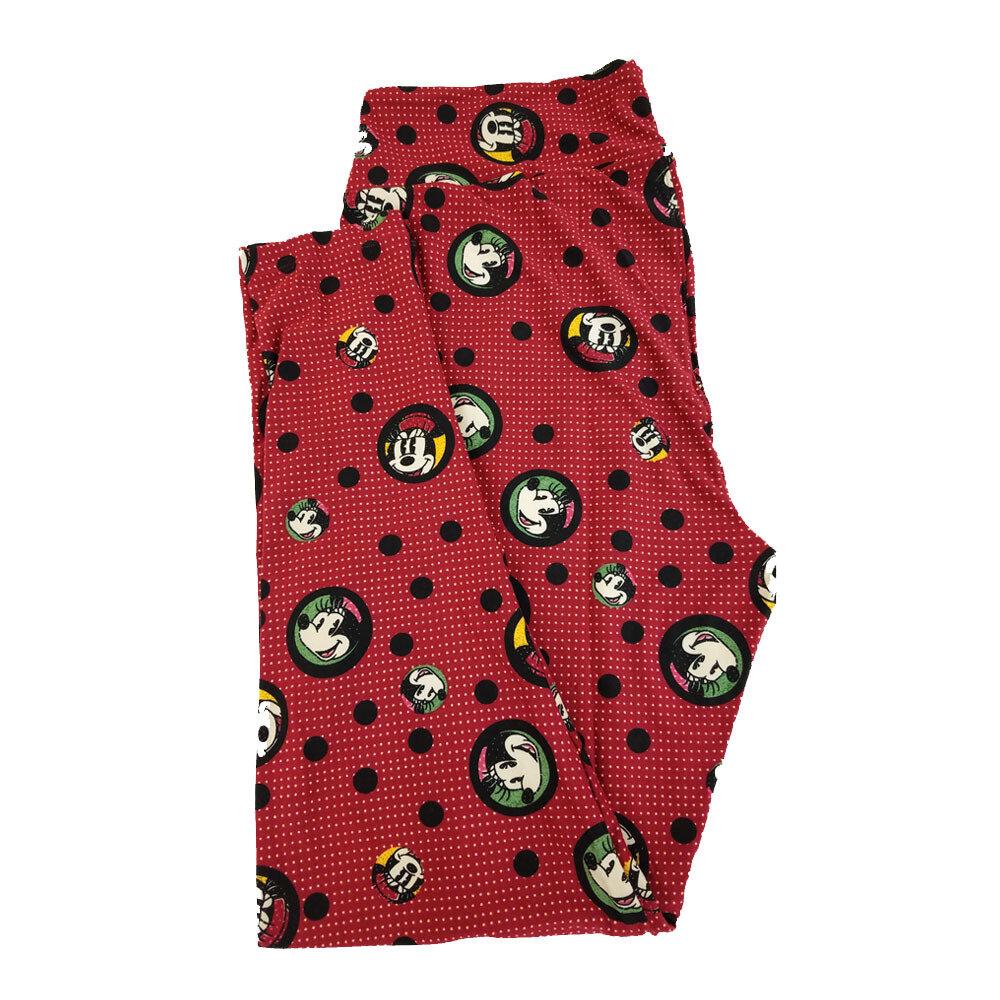 LuLaRoe TC2 Disney Smiling Minnie Mouse Red Green Yellow Black Polka Dot Leggings fits Adult Sizes 18+