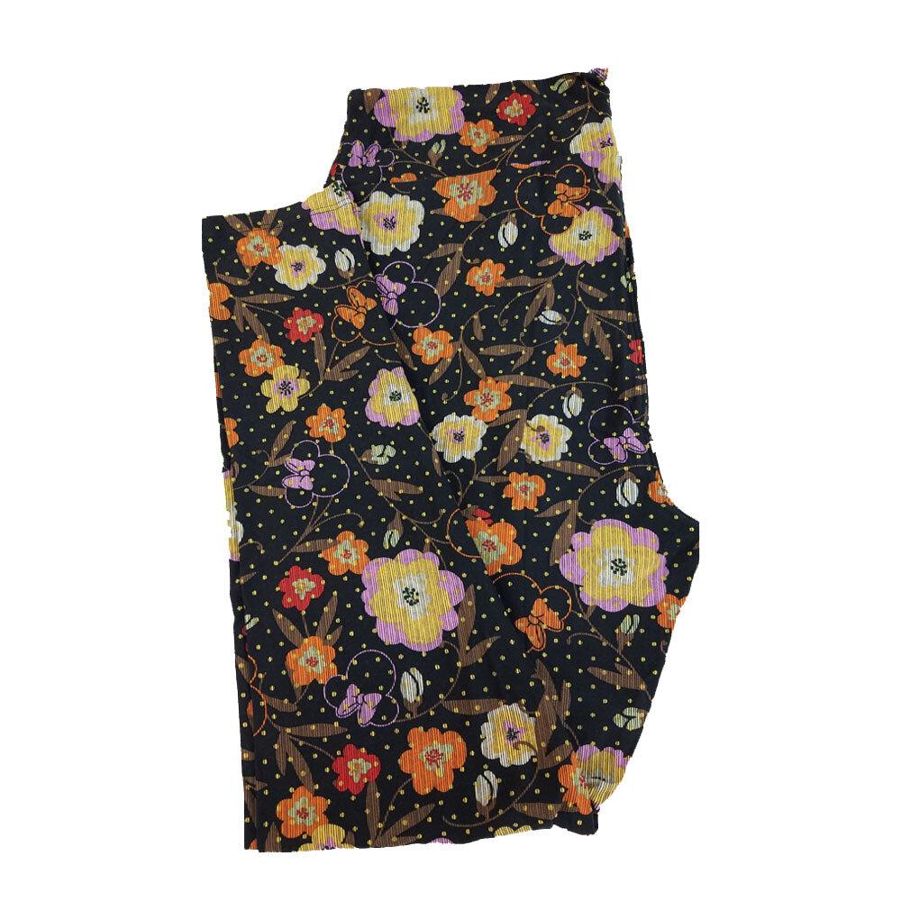 LuLaRoe TC2 Disney Minnie Mouse Flowers Black Lavender Orange White Polka Dot Leggings fits Adult Sizes 18+