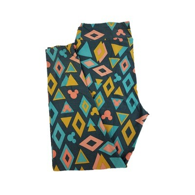 LuLaRoe TC2 Disney Mickey Mouse Diamonds and Triangles Green Gold Pink Leggings fits Adult Sizes 18+