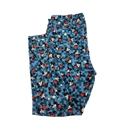 LuLaRoe TC2 Disney Animated Mickey Mouse Tip of the Hat Falling Down Blue Light Blue Red Leggings fits Adult Sizes 18+