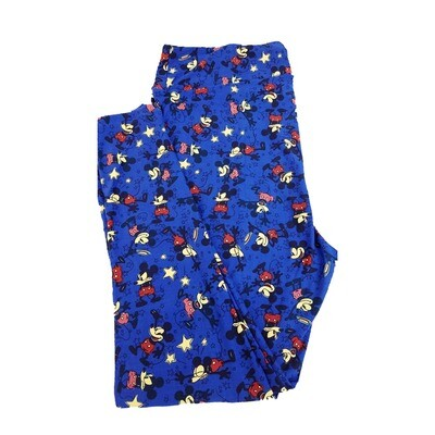 LuLaRoe TC2 Disney Animated Mickey Mouse Tip of the Hat Falling Down Blue Red Black Leggings fits Adult Sizes 18+