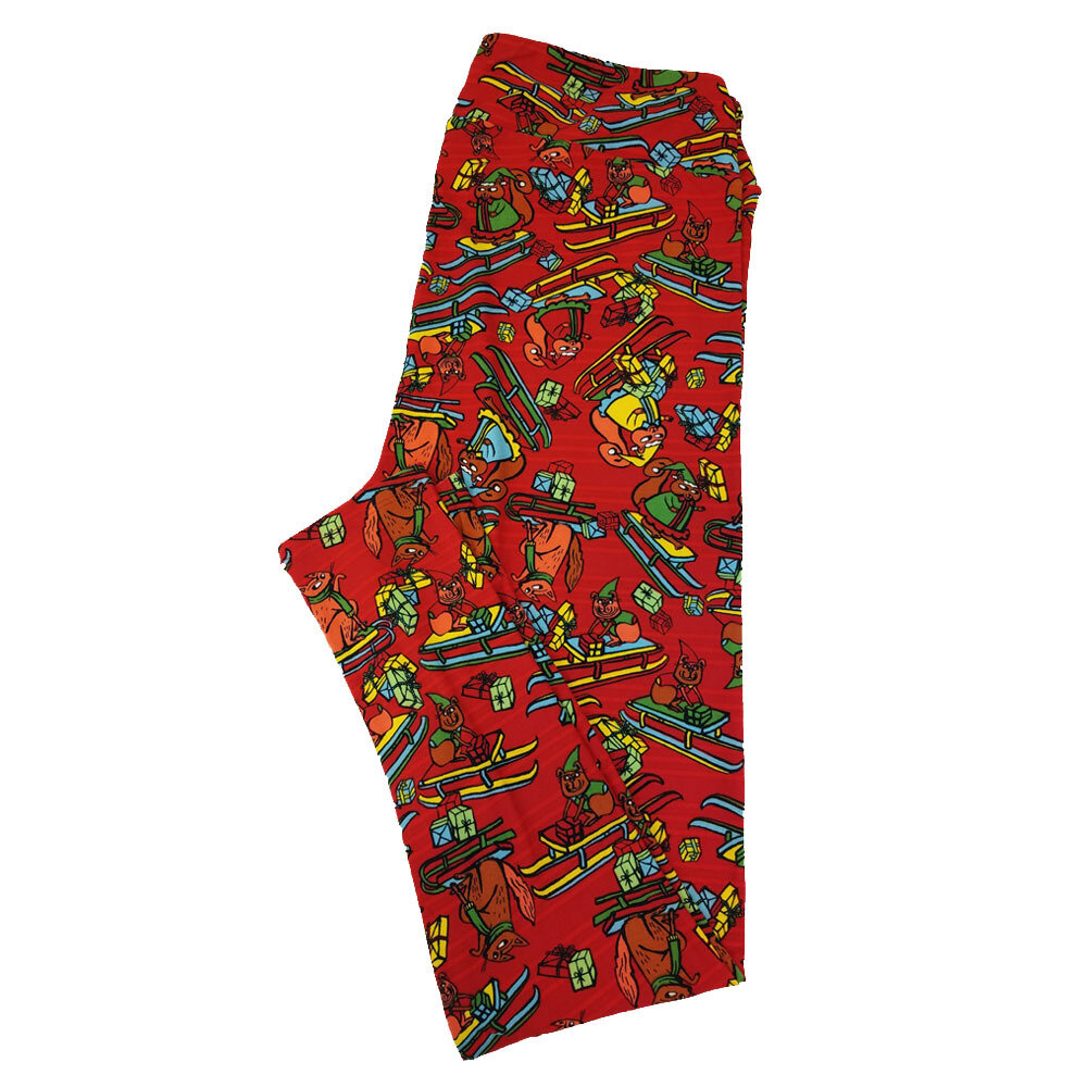 LuLaRoe TC2 Christmas Holiday Sled Present Squirrels Red Green Yellow Leggings fits Adult Sizes 18+