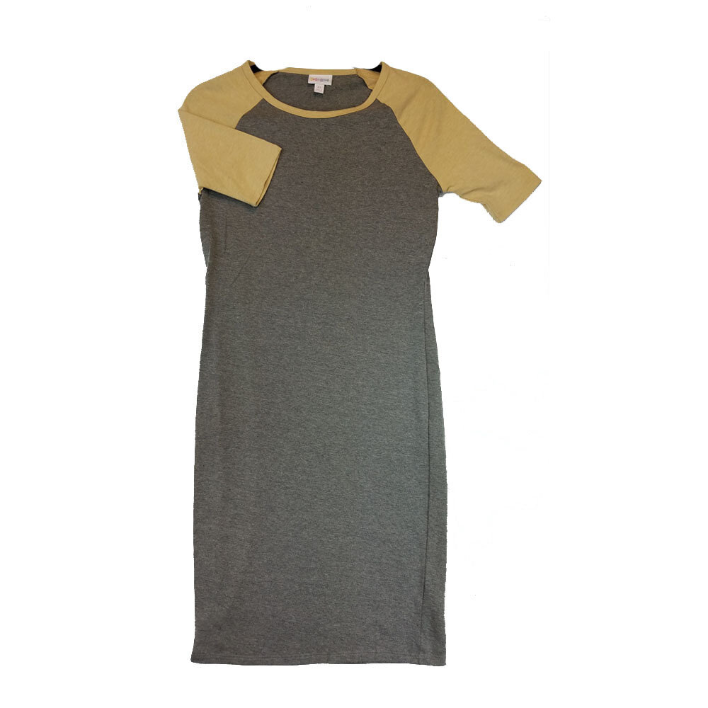 JULIA X-Small XS Solid Grey with Mustard Yellow Sleeves Form Fitting Dress fits sizes 2-4