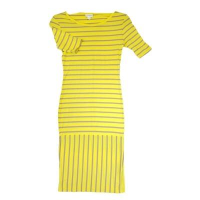 JULIA XX-Small XXS Yellow and Pink Stripe Form Fitting Dress fits sizes 00-0