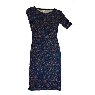 JULIA XX-Small XXS Dark Blue and Orange Floral Form Fitting Dress fits sizes 00-0