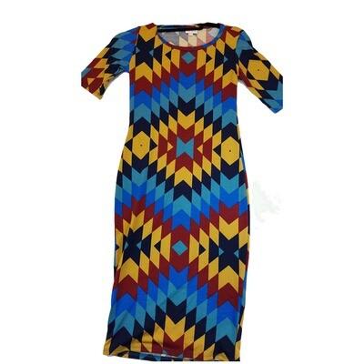JULIA XX-Small XXS Yellow, Maroon, Black and Blue Trippy Geometric Stripe Form Fitting Dress fits sizes 00-0