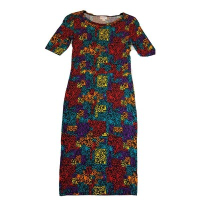 JULIA XX-Small XXS Yellow, Red, Blue and Black Geometric Form Fitting Dress fits sizes 00-0