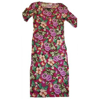 JULIA XX-Small XXS Pink, Purple Black and White Daisy Hybiscus Floral Form Fitting Dress fits sizes 00-0