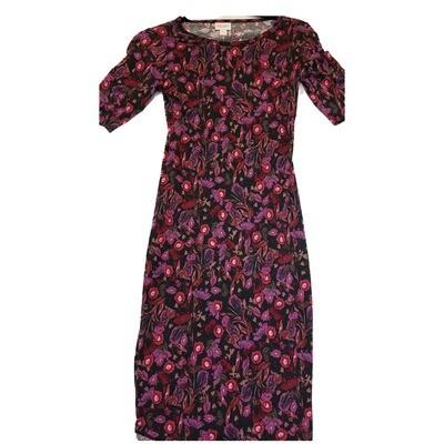 JULIA XX-Small XXS Purple, Pink Black and Fuchsia Floral Form Fitting Dress fits sizes 00-0
