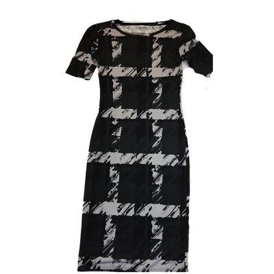 JULIA XX-Small XXS Black and Grey Square Geometric Stripe Form Fitting Dress fits sizes 00-0
