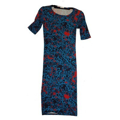 JULIA XX-Small XXS Black and Pink Floral Form Fitting Dress fits sizes 00-0