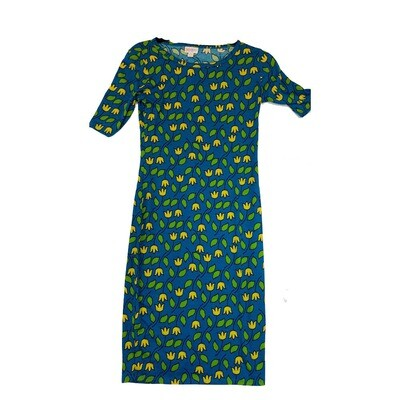 JULIA XX-Small XXS Blue, Green and Yellow Floral Form Fitting Dress fits sizes 00-0