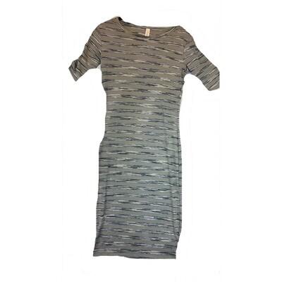 JULIA XX-Small XXS Grey, Black and Light Grey Geometric Stripe Form Fitting Dress fits sizes 00-0