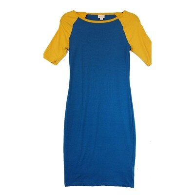 JULIA XX-Small XXS Solid Blue with Yellow Sleeves Form Fitting Dress fits sizes 00-0