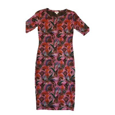 JULIA XX-Small XXS Pink, Orange, Blue and Black Paisley Floral Form Fitting Dress fits sizes 00-0