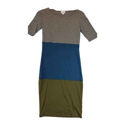 JULIA XX-Small XXS Solid Grey, Blue and Olive Green Form Fitting Dress fits sizes 00-0