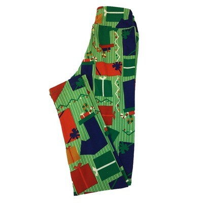 LuLaRoe Tween Leggings Chistmas Presents Wrapped Stripe Green Red White Fits Adult Sizes 00-0