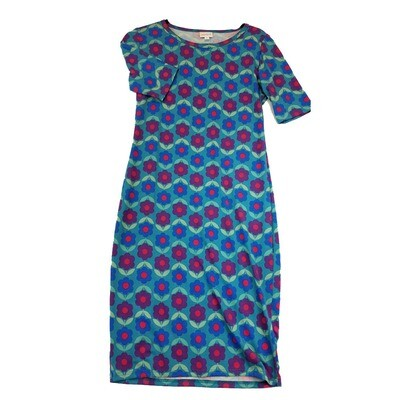 JULIA Small S Blue Purple and Pink Floral Polka Dot and Zig Zag Stripe Form Fitting Dress fits sizes 4-6