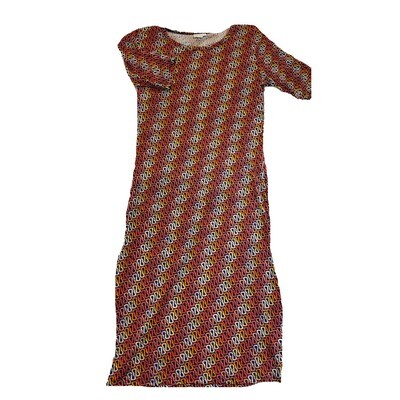 JULIA Small S Red Orange Black and Cream Curly Geometric Stripe Form Fitting Dress fits sizes 4-6