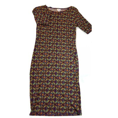 JULIA Small S Green Purple Orange Floral Geometric Form Fitting Dress fits sizes 4-6