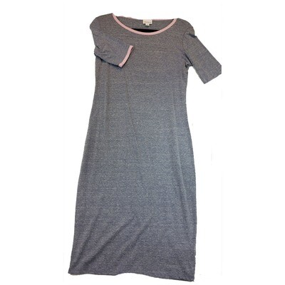 JULIA Small S Solid Grey with Pink Trim Form Fitting Dress fits sizes 4-6