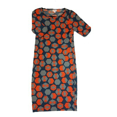 JULIA Small S Blue Grey and Red Hexagon Polka Dot Geometric Form Fitting Dress fits sizes 4-6