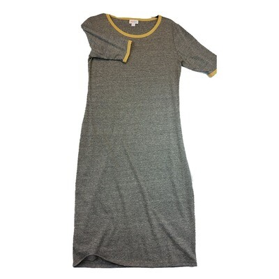 JULIA Small S Solid Grey with Yellow Trim Form Fitting Dress fits sizes 4-6