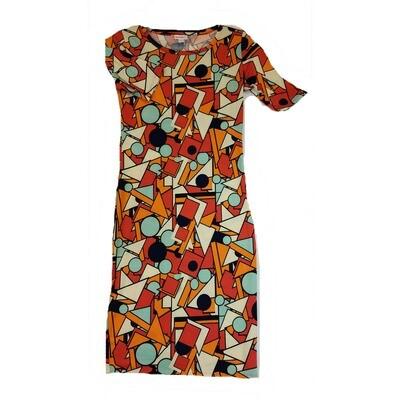 JULIA X-Small XS Red, Orange and Black Teachers Triangle Square Circle Rhombus Form Fitting Dress fits sizes 2-4