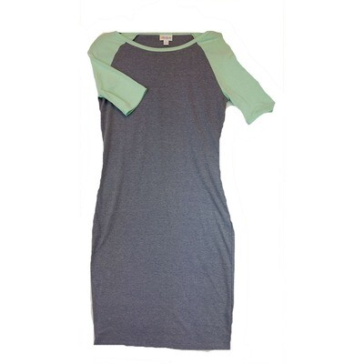 JULIA X-Small XS Solid Blue Grey with Green Sleeves Form Fitting Dress fits sizes 2-4