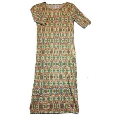 JULIA X-Small XS Peach, Blue and Grey Trippy Geometric Form Fitting Dress fits sizes 2-4