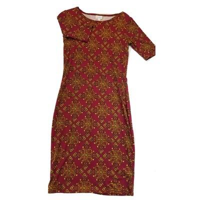 JULIA X-Small XS Maroon and Orange Trippy Geometric Form Fitting Dress fits sizes 2-4