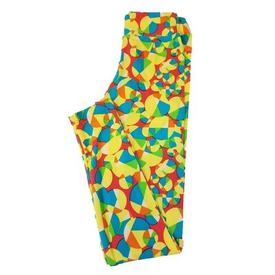 LuLaRoe Tween Red Teal Yellow Polka Dot Leggings Fits Adult Sizes 00-0