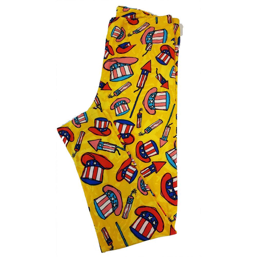 LuLaRoe Tall Curvy TC Americana USA Uncle Sam Top Hat Fireworks Rockets Yellow Blue Red White Leggings fits sizes 12-18 (TC-7014-P)