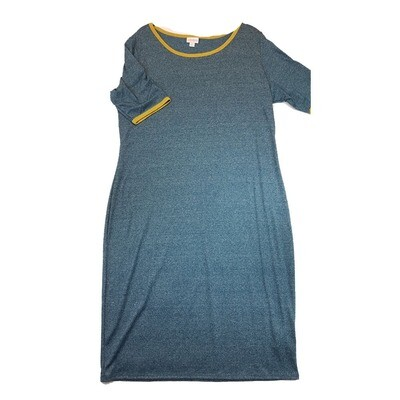 JULIA XX-Large 2XL Solid Blue with Yellow Trim Form Fitting Dress fits sizes 20-22