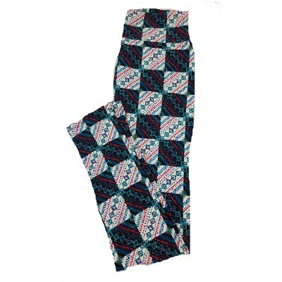 LuLaRoe One Size OS Patchwork Checkerboard Geometric Stripe Black White Leggings fit Sizes 2-10
