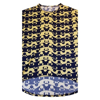 LuLaRoe IRMA X-Small XS Disney Navy and Gold Geometric Wavy Stripe Womens Tunic fits 2-6
