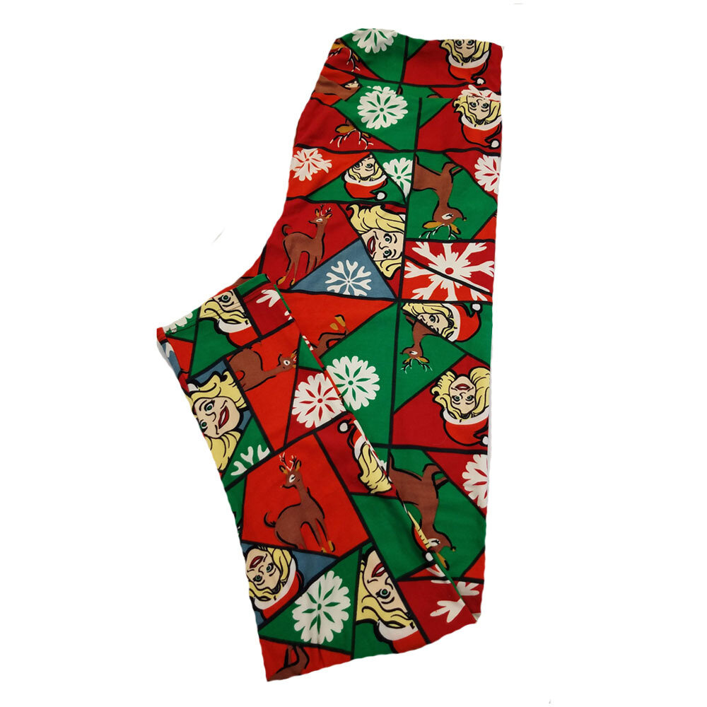LuLaRoe TC2 Christmas Holiday Mrs Claus Reindeer Snowflake Elf Geometric Black Red Green White Leggings fits Adult Sizes 18+
