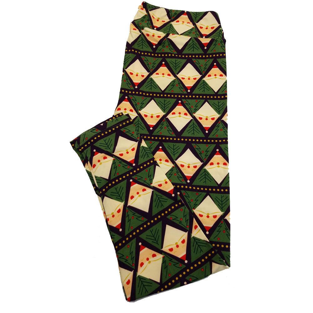 LuLaRoe TC2 Christmas Holiday Diamond Santa Claus Geometric Black Red Green White Stripe Leggings fits Adult Sizes 18+