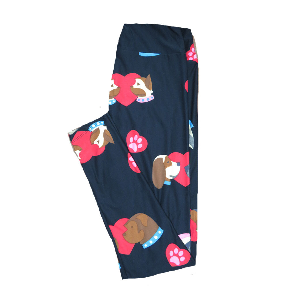 LuLaRoe One Size ( OS ) Valentines Puppy Dig Paw Print Black Green Pink Hearts Leggings fits Adult sizes 2-10