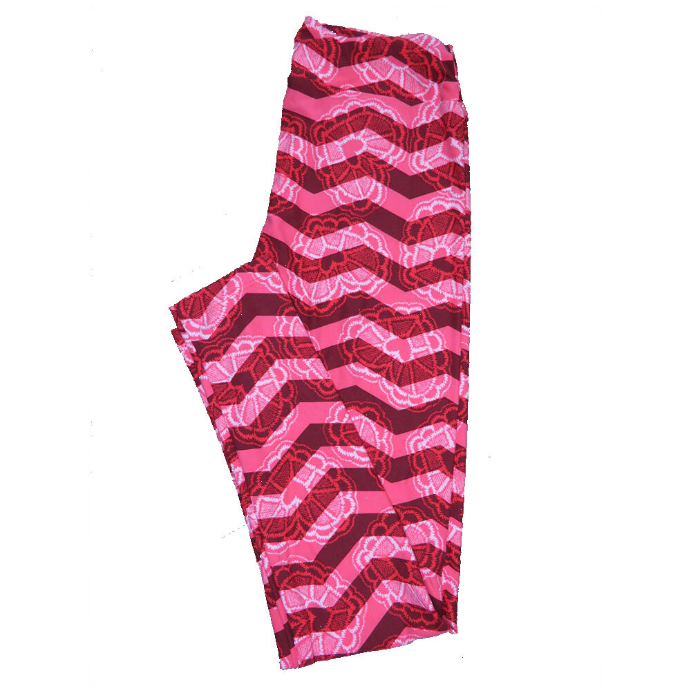 LuLaRoe One Size OS Valentines Red Pink Zig Zag Stripe with Lace Hearts Leggings fits Adult sizes 2-10