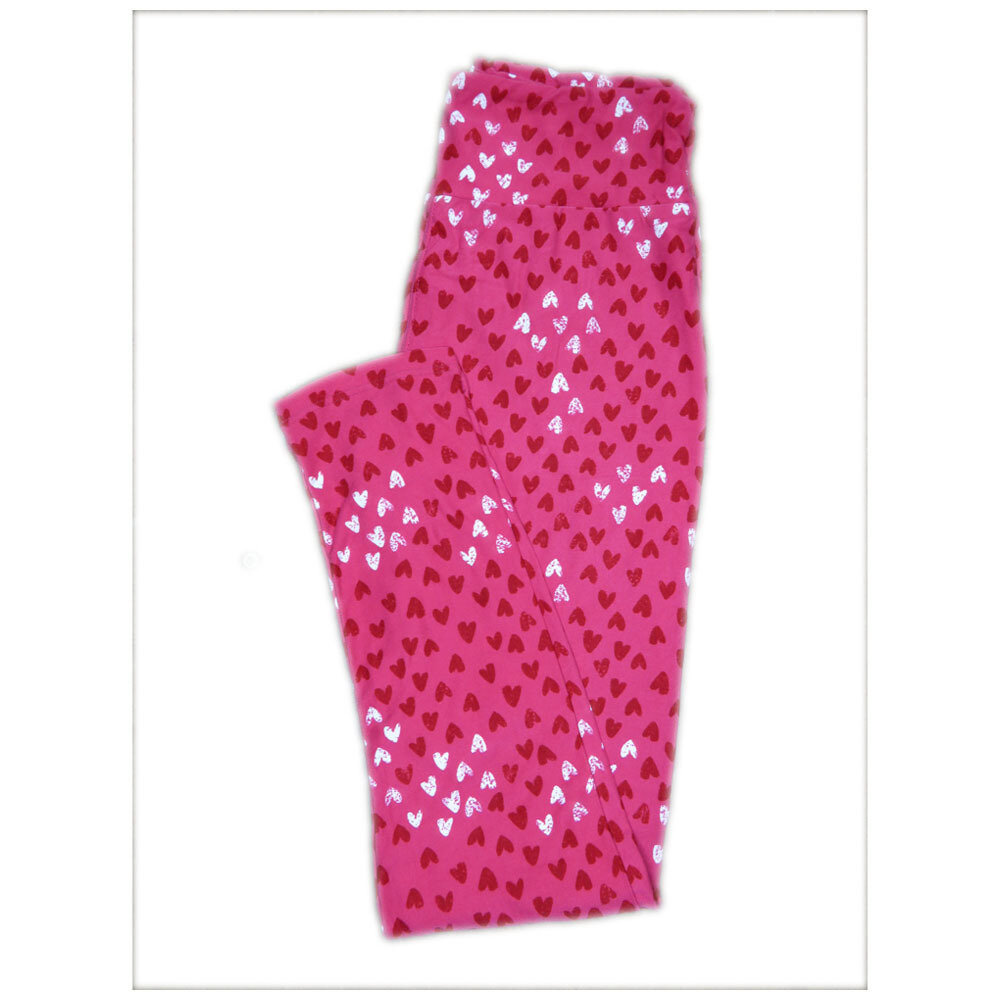 LuLaRoe One Size ( OS ) Valentines Pink with Red White Polka Dot Hearts Leggings fits Adult sizes 2-10