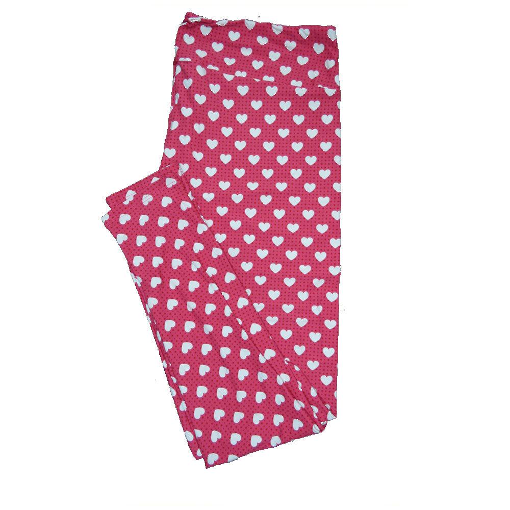 LuLaRoe TC2 ( fits Adult Sizes 18+ ) Valentines Green Black White Polka Dot Hearts Leggings