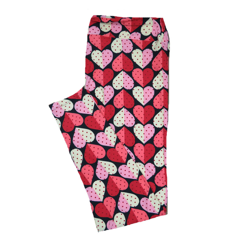 LuLaRoe TC2 ( fits Adult Sizes 18+ ) Valentines Pink Red Polka Dot Hearts Leggings