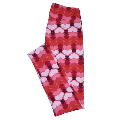 LuLaRoe One Size OS Valentines Red Pink Black Shooting Hearts Leggings fits Adult sizes 2-10