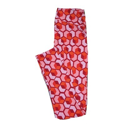 LuLaRoe One Size OS Valentines Large Red Pink Geometric Cube Hearts Leggings fits Adult sizes 2-10