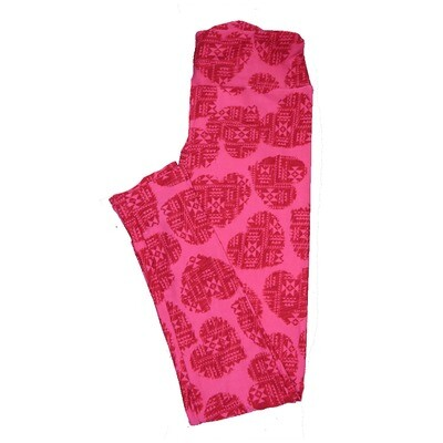 LuLaRoe One Size OS Valentines Pink Red Southwestern Hearts Leggings fits Adult sizes 2-10