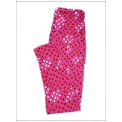 LuLaRoe One Size OS Valentines Pink with Red White Polka Dot Hearts Leggings fits Adult sizes 2-10