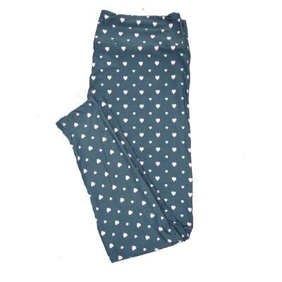 LuLaRoe One Size OS Valentines Green White Polka Dot Hearts Leggings fits Adult sizes 2-10