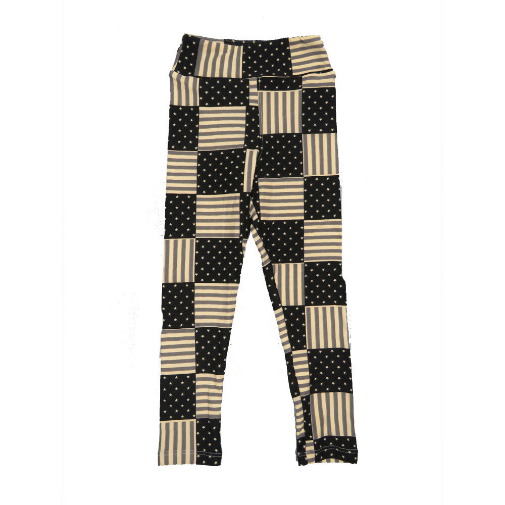 LuLaRoe Kids Small-Medium USA Flag Checkerboard Black White Leggings ( S/M fits kids 2-8 ) SM-1004-D