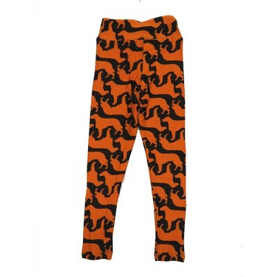 LuLaRoe Kids Small-Medium Dog Golden Retriever Black Orange Leggings ( S/M fits kids 2-8 ) SM-1005-U